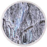 Round Beach Towel featuring the photograph Frozen Falls by Fiskr Larsen