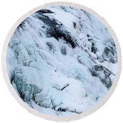 Frozen Gullfoss In Winter Round Beach Towel