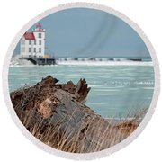 Frozen Harbor Round Beach Towel