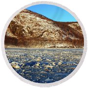 Round Beach Towel featuring the photograph Frozen by James Kirkikis