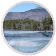 Frozen Lake Chocorua Round Beach Towel