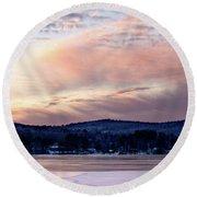 Frozen Lake Sunset In Wilton Maine  -78096-78097 Round Beach Towel