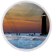 Frozen Lighthouse Round Beach Towel