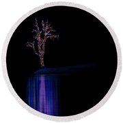 Frozen Lights Across The Lake Round Beach Towel