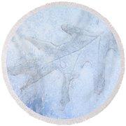 Frozen Oak Leaf Imprint Round Beach Towel