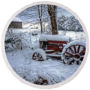 Frozen Relics Round Beach Towel