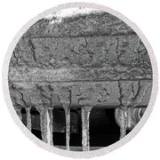 Round Beach Towel featuring the photograph Frozen Road Warrior by Robert Knight