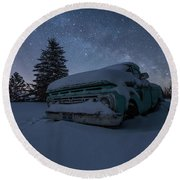 Round Beach Towel featuring the photograph Frozen Rust  by Aaron J Groen