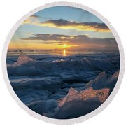 Frozen Sevan Lake And Icicles At Sunset, Armenia Round Beach Towel by Gurgen Bakhshetsyan