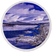 Frozen Shores Round Beach Towel