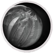 Frozen Soap Bubble - Black And White - Macro Round Beach Towel