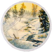 Frozen Stream Round Beach Towel