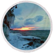 Frozen Sunset In Cape Vincent Round Beach Towel