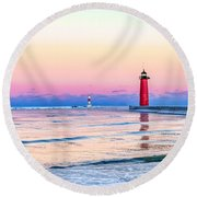Round Beach Towel featuring the photograph Frozen Sunset by Steven Santamour