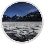Round Beach Towel featuring the photograph Frozen Wallowa Lake by Cat Connor