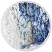 Round Beach Towel featuring the photograph Frozen Waterfall Gullfoss Iceland by Matthias Hauser
