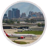 Frt Lauderdale Airport/city Round Beach Towel