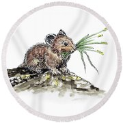 Round Beach Towel featuring the painting Frugal Mr Mouse  by Irina Sztukowski