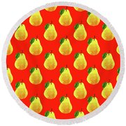 Fruit 03_pear_pattern Round Beach Towel by Bobbi Freelance