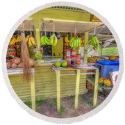 Fruit And Vegetable Stand  Round Beach Towel