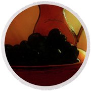 Fruit Art Plate Of Fruits And Jar Round Beach Towel