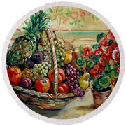 Fruit Basket Round Beach Towel by Alexandra Maria Ethlyn Cheshire