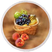 Round Beach Towel featuring the photograph Fruit Basket by Mary Timman