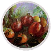 Round Beach Towel featuring the painting Fruit Dance by Jasna Dragun