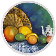 Round Beach Towel featuring the painting Fruit On Doily by Marlene Book
