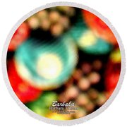 Round Beach Towel featuring the photograph Fruit Sticker by Barbara Tristan