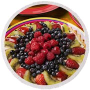 Fruit Tart Pie Round Beach Towel