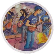 Round Beach Towel featuring the painting Fruition At The Barkley Ballroom by David Sockrider