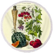 Fruits And Vegetables Kitchen Decoration Round Beach Towel