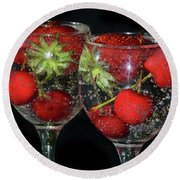 Round Beach Towel featuring the photograph Fruits In Glass by Elvira Ladocki