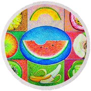 Fruits Round Beach Towel by Viktor Lazarev