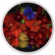 Round Beach Towel featuring the photograph Fruits With Flower by Elvira Ladocki