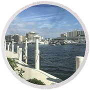 Round Beach Towel featuring the photograph Ft. Lauderdale, Inter-coastal by Marian Palucci-Lonzetta