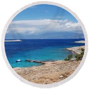 Ftenagia Beach On Halki Round Beach Towel