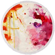 Fuchsia And Orange Color Splash Round Beach Towel