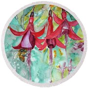 Round Beach Towel featuring the painting  Fuchsia by Jasna Dragun