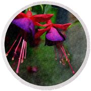 Fuchsia's Beating As One Together -silk Edit Round Beach Towel