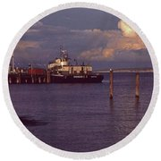 Fuel Dock, Port Townsend Round Beach Towel