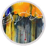 Round Beach Towel featuring the painting Fueled By The Wind by Nancy Jolley