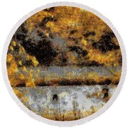 Fuisherman's Cove Round Beach Towel