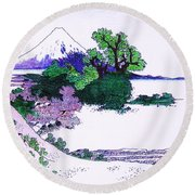 Round Beach Towel featuring the painting Fuji Yoshido by Roberto Prusso