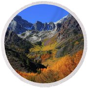 Full Autumn Display At Mcgee Creek Canyon In The Eastern Sierras Round Beach Towel
