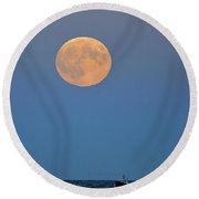 Full Blood Moon Round Beach Towel by Nancy Landry