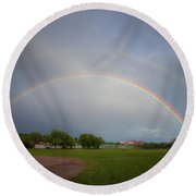 Full Double Rainbow Round Beach Towel