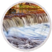 Round Beach Towel featuring the photograph Full Flow, Noble Falls, Perth by Dave Catley