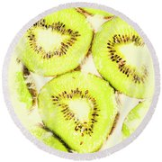 Full Frame Shot Of Fresh Kiwi Slices With Seeds Round Beach Towel